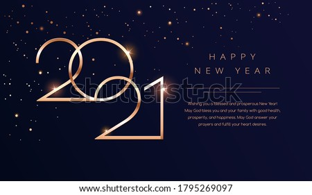 Luxury 2021 Happy New Year background. Golden design for Christmas and New Year 2021 greeting cards with New Year wishes of health and prosperity. Vector background in gold and dark blue black color #1795269097