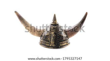 viking helmet with horns isolated on white background Royalty-Free Stock Photo #1795327147