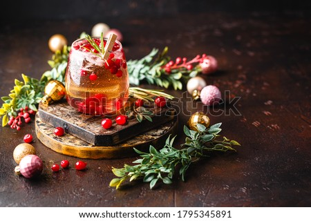 Festive Christmas Cranberry and rosemary cocktail with ice on the dark background. Alcoholic or non-alcoholic cocktail. Royalty-Free Stock Photo #1795345891
