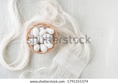 Silk cocoon the commercially bred caterpillar of silkworm moth, which spins a silk cocoon that is processed to yield silk fiber #1795355374