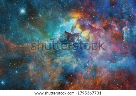 Nebula, cluster of stars in deep space. Science fiction art. Elements of this image furnished by NASA. Royalty-Free Stock Photo #1795367731