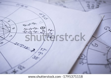 Printed astrological charts, moon in natal chart, detail Royalty-Free Stock Photo #1795371118