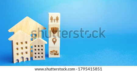 Residential buildings and blocks with the attributes of life. Criteria for choosing a residence place. Security, location infrastructure, availability of educational institutions and high-paying jobs Royalty-Free Stock Photo #1795415851