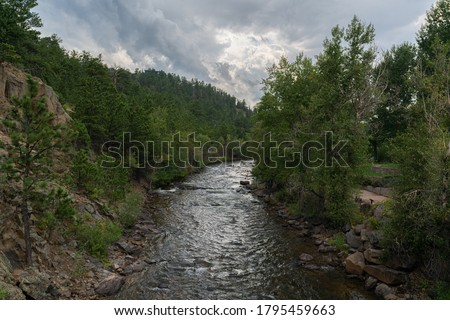 River Running through Estes Park near shops and Life, Complete with many Trees and Wildlife #1795459663