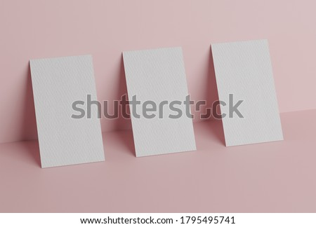 Three white square shape business card mockup stacking on pink pastel color background. Branding presentation template print. 3D illustration rendering