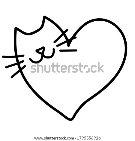 Doodling cat in the heart shape. Cute cat logo. Hand draw doodle style. Black outlines isolated on a white  background.