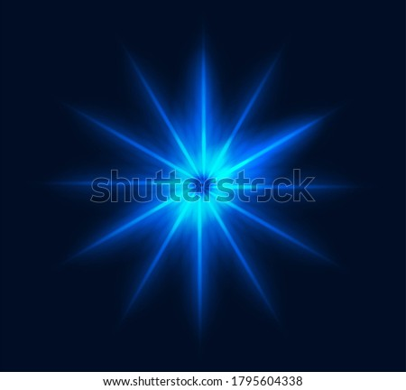 Neon star flash glowing geometric burst pattern blue rays transparent, glitter magical optical light effect explosion element design isolated, beam shine realistic clipart on dark color clipart