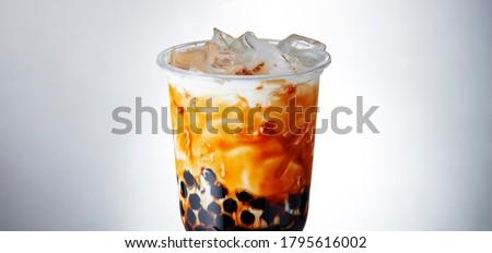 Bubble milk tea cold drink white bottom picture