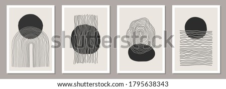 Trendy set of abstract creative minimalist artistic hand painted composition ideal for wall decoration, as postcard or brochure design, vector illustration Royalty-Free Stock Photo #1795638343