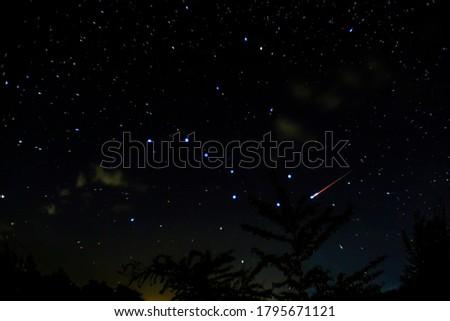 Meteor. Perseid meteor shower. August 2020 N