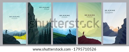 Vector illustration. Travel concept of discovering, exploring and observing nature. Hiking. Adventure tourism. Minimalist graphic flyers. Polygonal flat design for coupon, voucher, gift card #1795710526