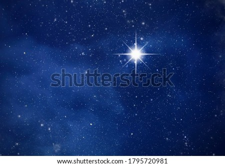 Amazing Polaris in deep starry night sky, space with stars Royalty-Free Stock Photo #1795720981