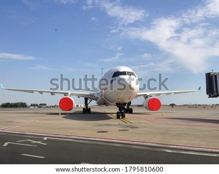 aircraft in hibernation on parking stand Royalty-Free Stock Photo #1795810600
