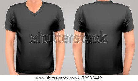 A male body with a black shirt on. Vector. #179583449