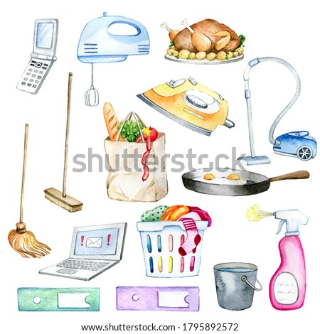 Watercolor hand painted housekeeping elements, isolated on white