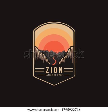 Emblem patch logo illustration of Zion National Park on dark background Royalty-Free Stock Photo #1795922716