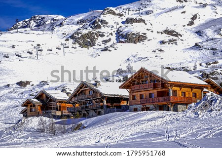 L'Alpe D'Huez ski resort in Alps mountains, France. Winter landscape. Famous travel destination. High quality photo Royalty-Free Stock Photo #1795951768