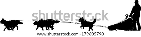 Dog sled silhouette on a white background #179605790