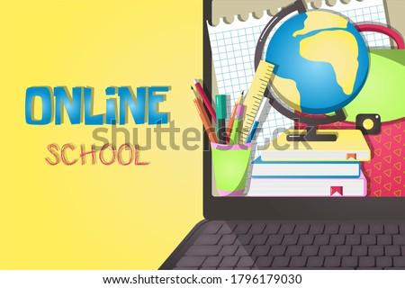 Online school illustration. Flat cartoon design. Laptop with school stuff.