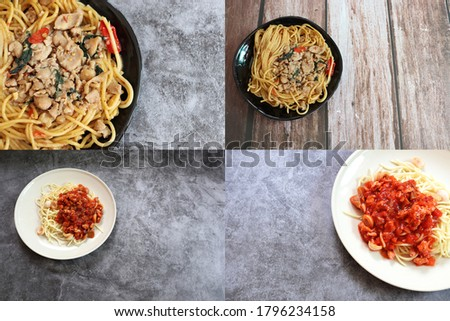 Set of some picture about spaghetti on a dish