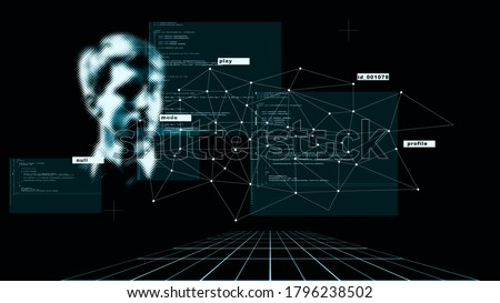 Abstract concept, digital identity, identification and scanning. Modern digital technologies, data collection and analysis Royalty-Free Stock Photo #1796238502