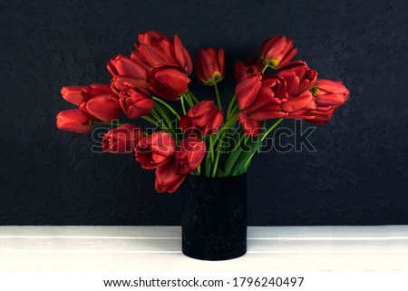 Blood red tulips on a dark background. Wooden white table made of boards.