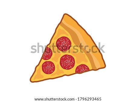 Slice of pepperoni pizza icon. Pepperoni pizza illustration. Pieces of salami pizza icon isolated on a white background