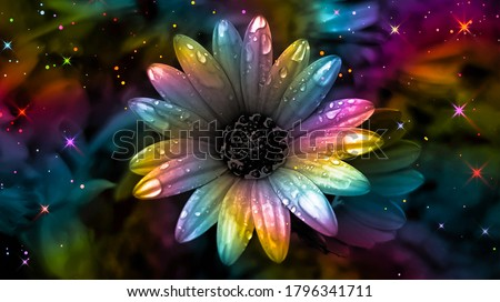 Colorful daisy. Rainbow flower background. Rainbow abstract art. Rainbow floral background. Surreal abstract. Colorful glittering background. Colorful sparkles. Multicolor flower backdrop. Royalty-Free Stock Photo #1796341711