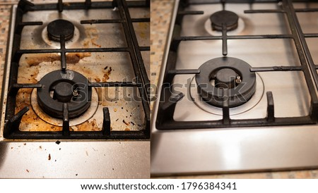 Dirty gas stove stained while cooking, a stove in grease. Unsanitary conditions, a mess in the house. Collage before and after cleaning from dirt. Royalty-Free Stock Photo #1796384341