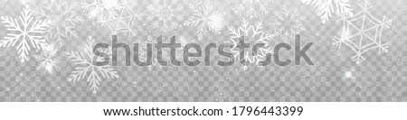 Vector heavy snowfall, snowflakes in different shapes and forms. Snow flakes, snow background. Falling Christmas. #1796443399
