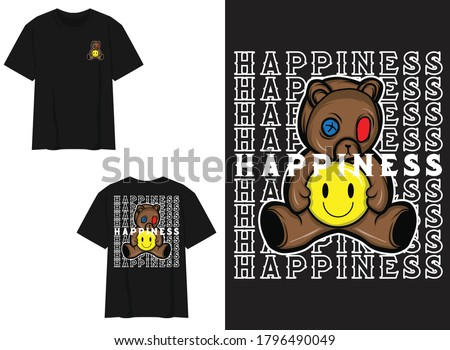 Character Street Wear T-shirt. Teddy Bear With Pills, Happiness Royalty-Free Stock Photo #1796490049