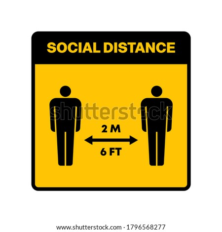 High quality social distance warning icon on white background. Pandemic, covid-19, illustration. Useful for website design, banner, print media, mobile apps and social media posts.