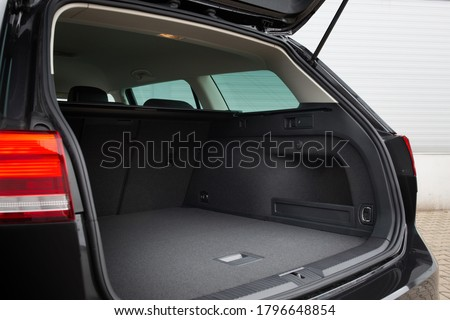 Modern wagon car open trunk. Car boot is open Royalty-Free Stock Photo #1796648854