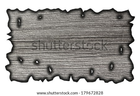 charred wood board isolated on white #179672828