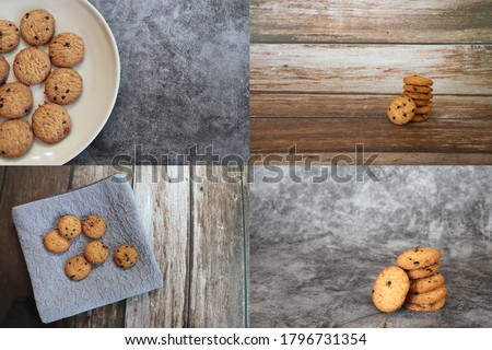 set of some picture about delicious chocolate chip cookies