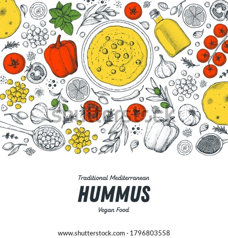 Hummus cooking and ingredients for hummus, sketch illustration. Middle eastern cuisine frame. Healthy food, design elements. Hand drawn, package design. Mediterranean food. Royalty-Free Stock Photo #1796803558