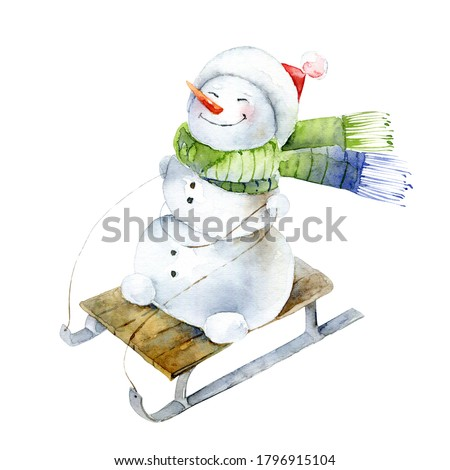 Watercolor cheerful snowman in hat and scarf sledding