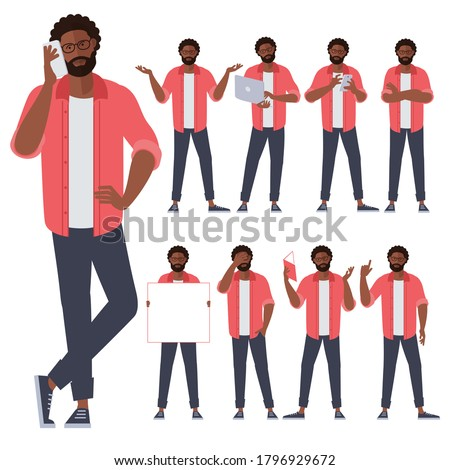 Set of flat design young black afro american man characters, various poses and gestures and everyday activities. Learning, chatting, phonning, working. Royalty-Free Stock Photo #1796929672