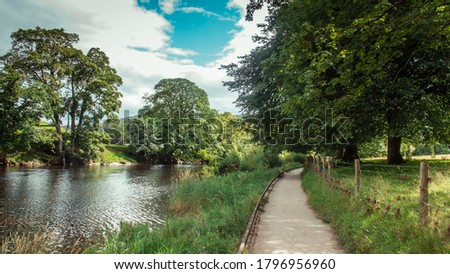 Public footpath from Grassington to Burnsall, Yorkshire Dales, UK Royalty-Free Stock Photo #1796956960