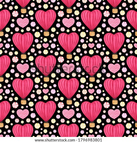 Watercolor hand drawn seamless pattern with pink red hot air balloon, heart and candies. Holiday background for Valentine's/Mother's Day design; wrapping paper, greeting card, invitation, scrapbooking