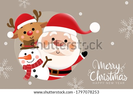 Merry Christmas and happy new year 2021 greeting card with cute Santa Claus, deer and snowman. Holiday cartoon character in winter season. -Vector. #1797078253