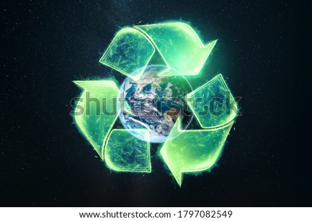 Recycling. Eco recycling green symbol. Recycling sign on the background of the globe Royalty-Free Stock Photo #1797082549