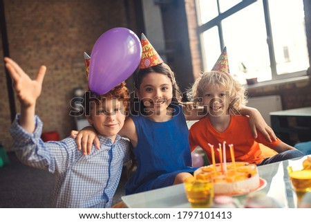 Bday. Three children celebrating bday and feeling happy