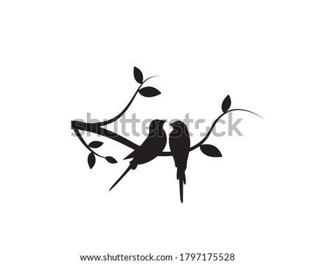 Birds Couple Silhouette on Branch Vector, Birds in love Silhouette, Wall Decals, Couple of Birds in Love, Art Decoration, Wall Decor, Birds Silhouette on branch isolated on white background, romantic #1797175528