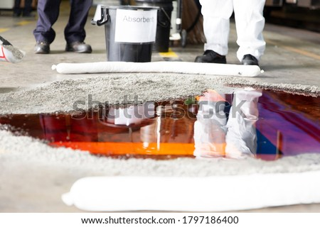 Oil of tank leak on the floor Royalty-Free Stock Photo #1797186400