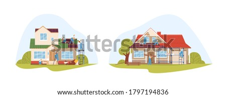 Crew of workers in uniform during repair of private houses set vector flat illustration. Team of repairmen decorate facade, cover roof, upgrade wall color isolated. Exterior building renovation Royalty-Free Stock Photo #1797194836