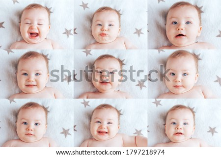 Collage of nine pictures of a baby, pictures of a baby in different emotions, a newborn baby with blue eyes and blond hair.