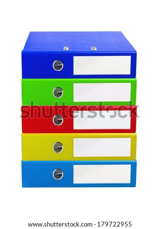 Colorful office folders isolated on white  #179722955
