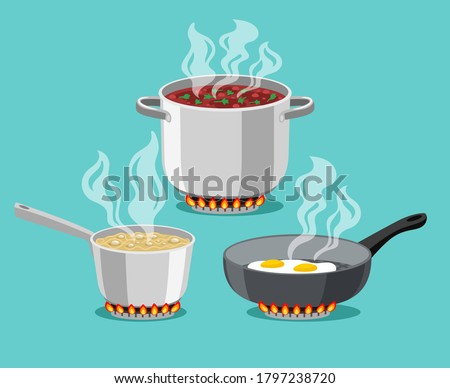 Cooking in home pans. Boiling pot and fried pan set, cartoon steel cooking pots with boiling soup and fried egg, concept of home dinner on stove, flaming gas burner heats kitchen ob #1797238720