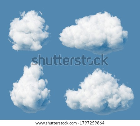 3d render. Abstract white clouds isolated on blue sky background. Cumulus stages clip art. Sky illustration
